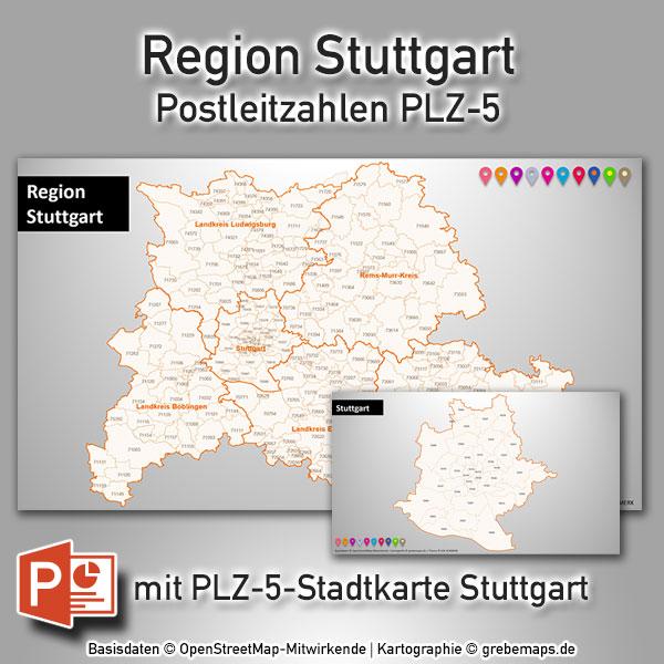 PowerPoint-Karte Region Stuttgart Postleitzahlen PLZ-5 (PLZ 5-stellig)