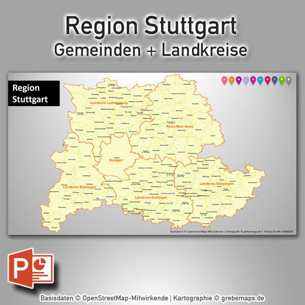 PowerPoint-Karte Region Stuttgart Gemeinden Landkreise