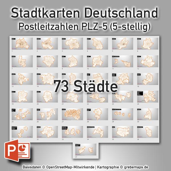 Stadtkarten Postleitzahlen PLZ-5 Deutschland PowerPoint-Karte (PLZ 5-stellig) – 73 Städte