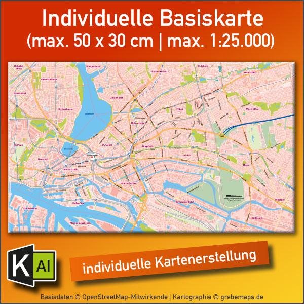 KartenDesign: Individuelle Basiskarte Erstellen (max. 50×30 Cm | Max. 1:25.000)