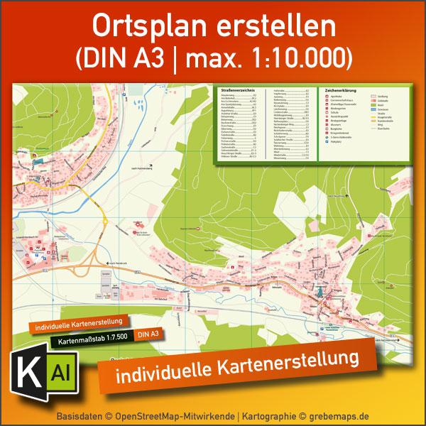 KartenDesign: Ortsplan Erstellen (DIN A3 | Max. 1:10.000)