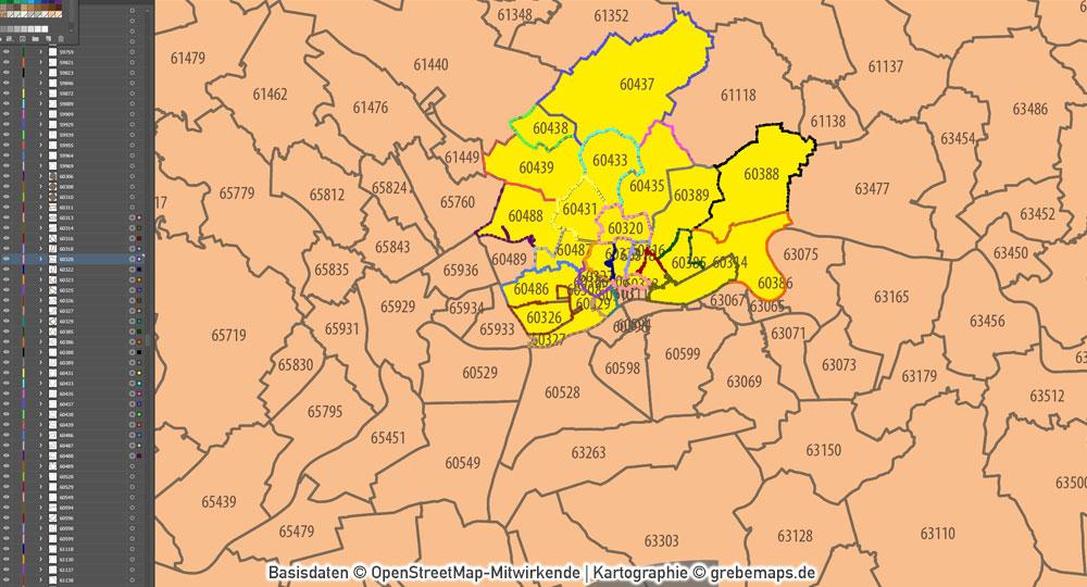 Deutschland Postleitzahlenkarte PLZ-5 Ebenen-separiert, Karte PLZ Deutschland 5-stellig, PLZ-Karte Deutschland, Vektorkarte PLZ Deutschland, AI-Datei, Download, Mit Bundesländern