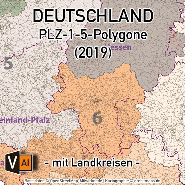Deutschland Postleitzahlenkarte PLZ-1-5 Ebenen-separiert Mit Landkreisen, PLZ-Karte Deutschland, Karte PLZ Deutschland, Vektorkarte PLZ Deutschland, AI-Datei, Download