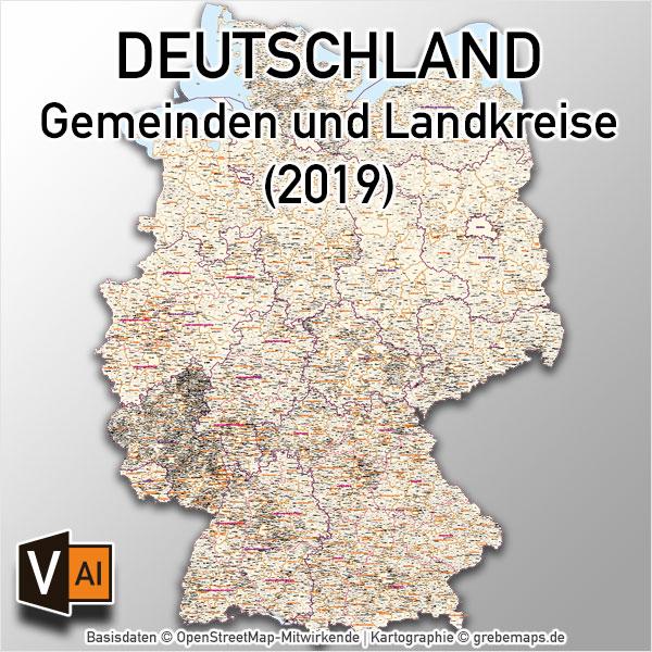 Deutschland Gemeindekarte Mit Landkreisen Vektorkarte (2019)