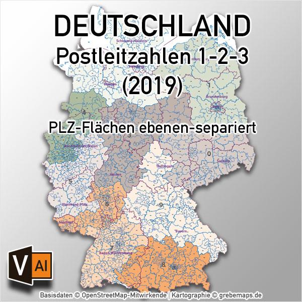 Deutschland Postleitzahlenkarte PLZ-1-2-3 Ebenen-separiert Mit Landkreisen Orten Bundesländern Vektorkarte (2019)