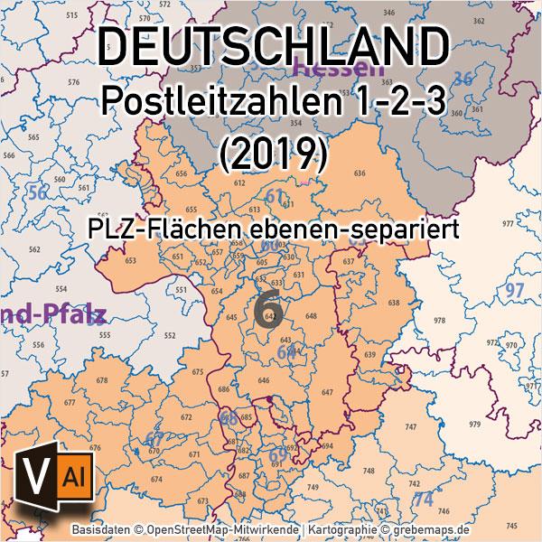 Karte Plz.Deutschland Postleitzahlenkarte Plz 1 2 3 Ebenen Separiert Mit Landkreisen Orten Bundesländern Vektorkarte 2019