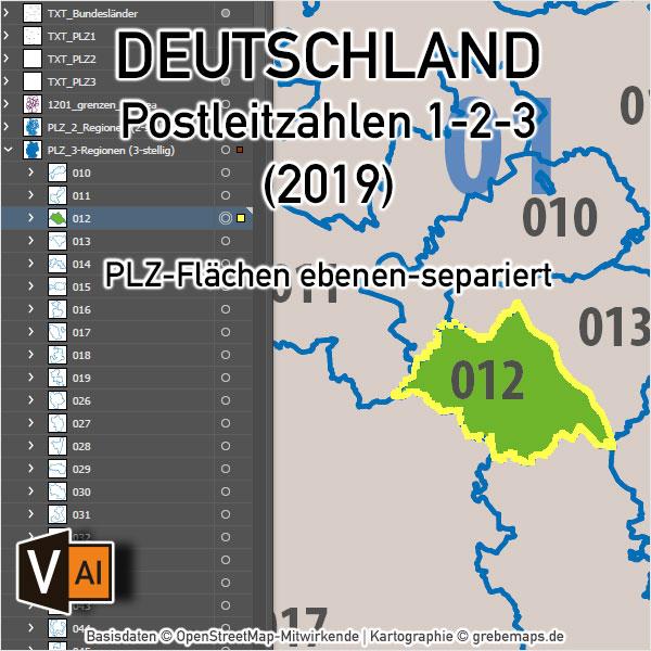 Deutschland Postleitzahlenkarte PLZ-1-2-3 Ebenen-separiert Mit Landkreisen Orten Bundesländern Vektorkarte, PLZ-Karte Deutschland 2-stellig, PLZ-Karte Deutschland 3-stellig, Karte Postleitzahlen Deutschland, Vektorkarte Postleitzahlen Deutschlan, AI-Datei, Download