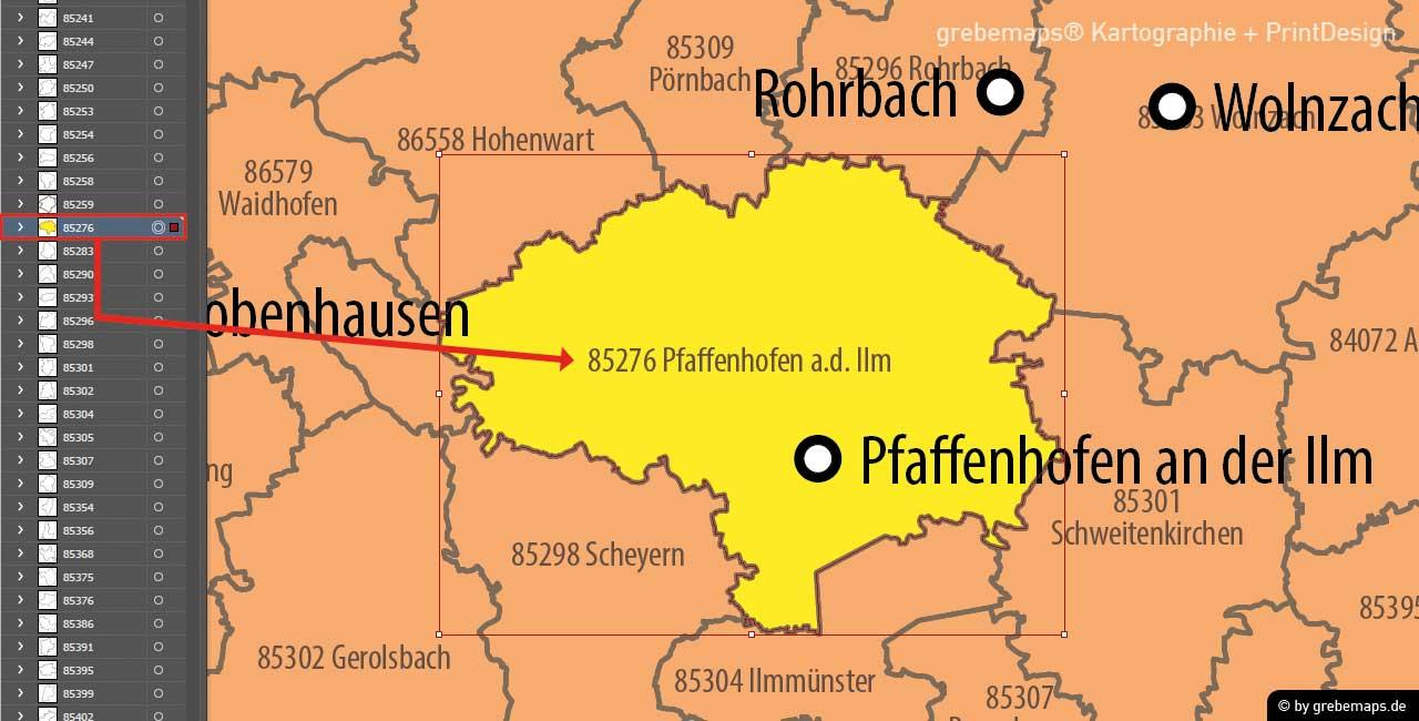 PLZ-Karte Deutschland 5-stellig, Postleitzahlenkarte 5-stellig Illustrator AI-Datei Vektorkarte download