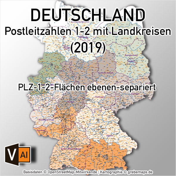Deutschland Postleizahlenkarte PLZ-1-2 Mit Landkreisen Bundesländern Orte Vektorkarte, PLZ-Karte Deutschland 2-stellig, Karte PLZ 2-stellig Deutschland, Vektorkarte, AI-Datei, Download