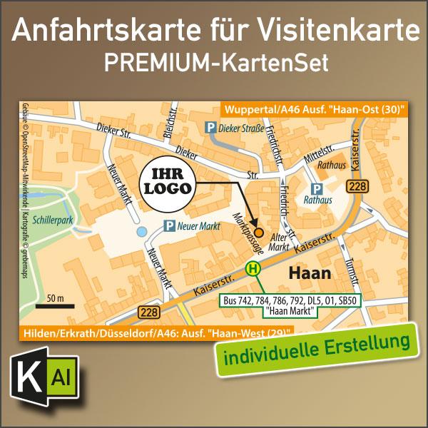 Anfahrtskarte erstellen für Visitenkarte, Anfahrtsskizze erstellen für Visitenkarte, Lageplan erstellen für Visitenkarte, Standortkarte erstellen für Visitenkarte