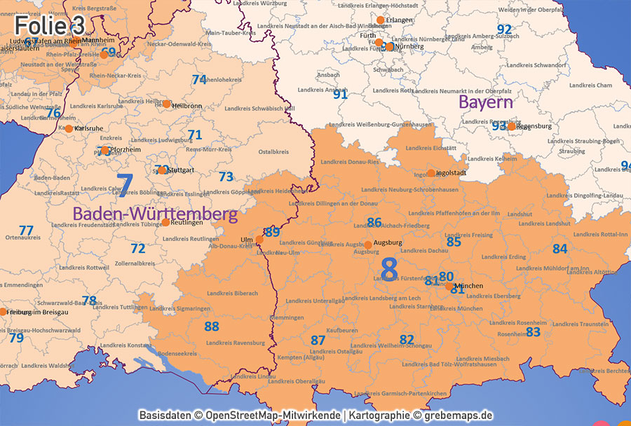 PowerPoint-Karte Deutschland Postleitzahlen PLZ-2 (2-stellig) mit Landkreisen Bundesländern (DIN A2), PLZ-1-Zonen, ausgewählte Ortsnamen, download, PLZ-Karte PowerPoint Deutschland, Karte PLZ-2 PowerPoint Deutschland
