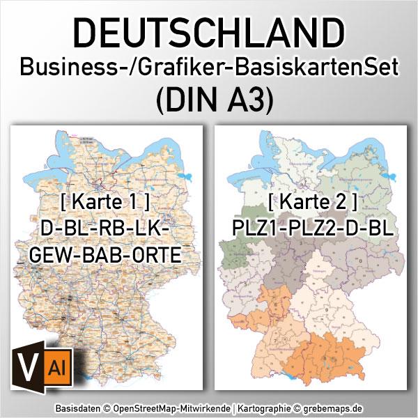 Business-/Grafiker-BasiskartenSet Deutschland Landkreise Autobahnen Orte Postleitzahlen PLZ-1-2 Vektorkarte DIN A3 (2019)