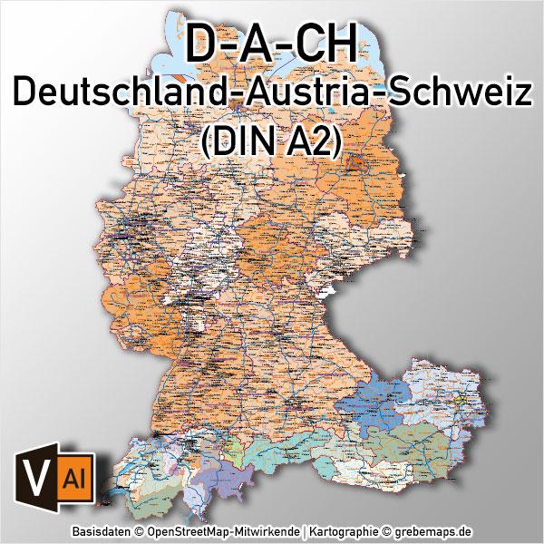 Deutschland Austria-Österreich Schweiz DACH Vektorkarte DIN A2 Mit Autobahnen Orten (2019)