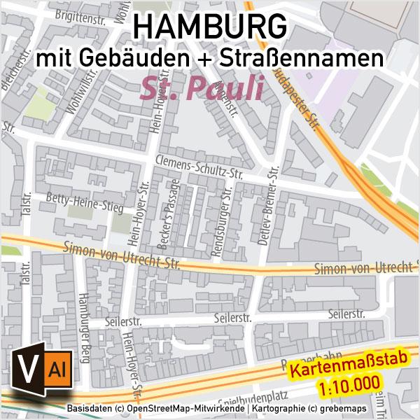 Hamburg Stadtplan Gebäude Strassennamen Vektorkarte, Stadplan Hamburg Straßennamen, Stadtplan Hamburg Gebäude, Stadtplan Hamburg 1:10.000, Stadtkarte Hamburg, Vektorkarte Stadtplan Hamburg