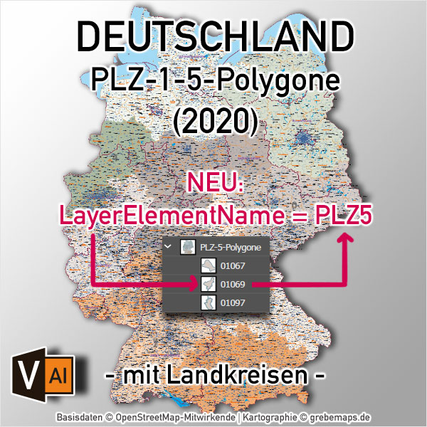Deutschland Postleitzahlenkarte PLZ-1-5 Mit Landkreisen Bundesländern Ortsnamen Vektorkarte (2020)
