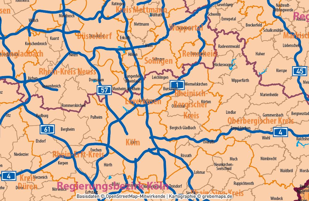 Deutschland Gemeinden Landkreisen Bundesländer Autobahnen Vektorkarte, Karte Gemeinden Deutschland, Karte Landkreise Deutschland, Vektorkarte Deutschland Gemeinden, Karte Vektor Gemeinden Deutschland, AI, download, editierbar