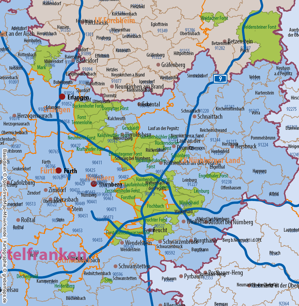 Bayern Vektorkarte Gemeinden Landkreise Postleitzahlen PLZ-5 Regierungsbezirke Autobahnen, Karte Gemeinden Bayern, Karte Landkreise Bayern, Karte Postleitzahlen Bayern, Vektorkarte Bayern, Vektorgrafik Bayern, AI, download, editierbar, bearbeitbar, ebenen-separiert