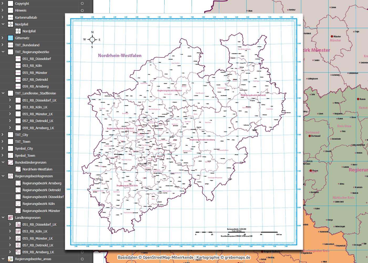 Nordrhein-Westfalen Vektorkarte NRW Regierungsbezirke Landkreise, Vektorkarte NRW Landkreise, Vektorkarte NRW Regierungsbezirke, Landkarte NRW Landkreise, Übersichtskarte NRW Landkreise, AI, download, editierbar, ebenen-separiert