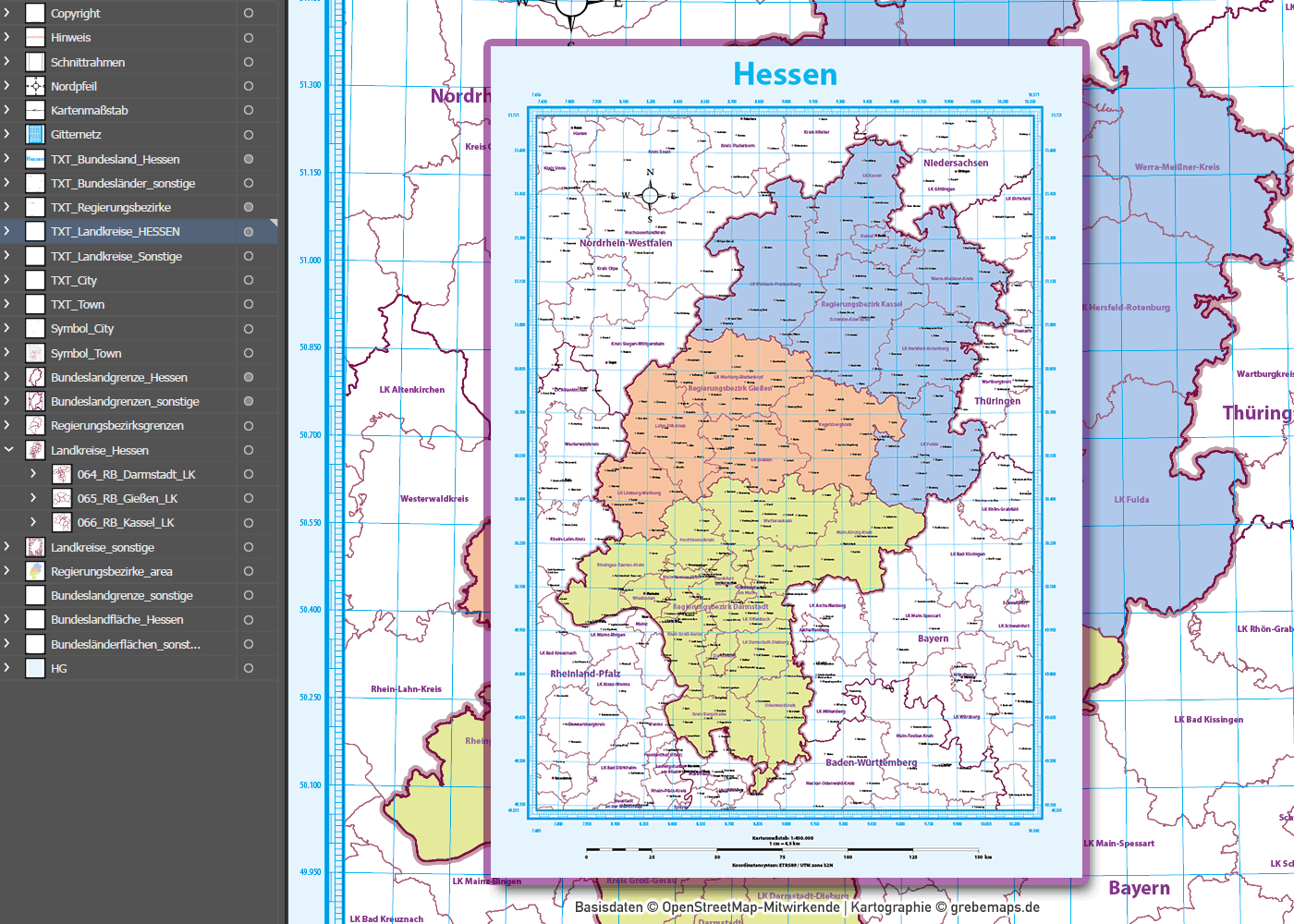 Hessen Vektorkarte Regierungsbezirke Landkreise, Karte Hessen Landkreise, Karte Hessen Regierungsbezirke, Vektorkarte Hessen Landkreise, Landkarte Hessen Landkreise, Vektorgrafik Hessen Landkreise, AI, download, editierbar