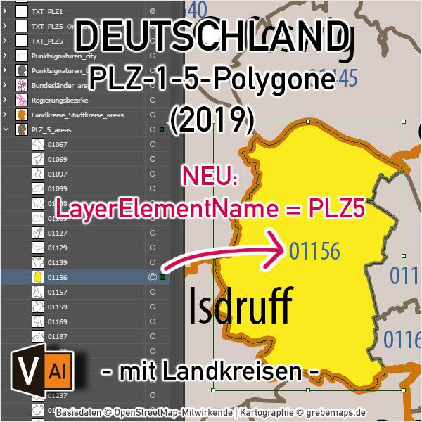 Deutschland Postleitzahlenkarte PLZ-1-5 Mit Landkreisen, PLZ-Karte Deutschland, Karte PLZ Deutschland, Vektorkarte PLZ Deutschland, AI-Datei, Download