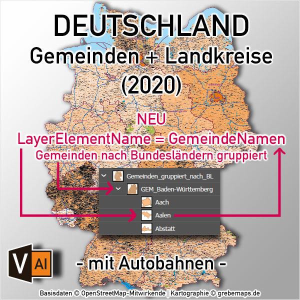 Deutschland Gemeinden Landkreise Bundesländer Autobahnen Vektorkarte (2020)