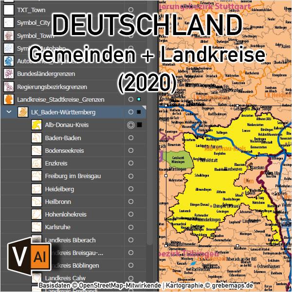Deutschland Gemeinden Landkreise Bundesländer Autobahnen Vektorkarte, Karte Gemeinden Deutschland, Karte Landkreise Deutschland, Vektorkarte Deutschland Gemeinden, Karte Vektor Gemeinden Deutschland, AI, download, editierbar