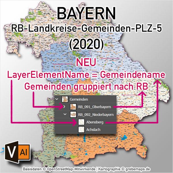 Bayern Vektorkarte Gemeinden Landkreise Postleitzahlen PLZ-5 Regierungsbezirke Autobahnen (2020)
