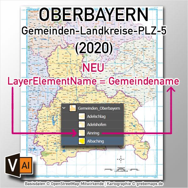 Oberbayern Vektorkarte Gemeinden Landkreise Postleitzahlen PLZ-5 Autobahnen (2020)