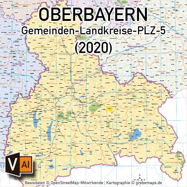 Oberbayern Vektorkarte Gemeinden Landkreise Postleitzahlen Plz 5