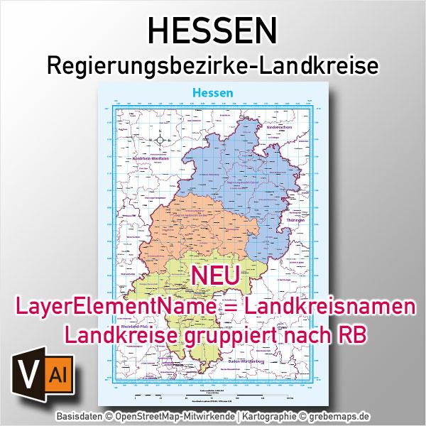 Hessen Vektorkarte Regierungsbezirke Landkreise