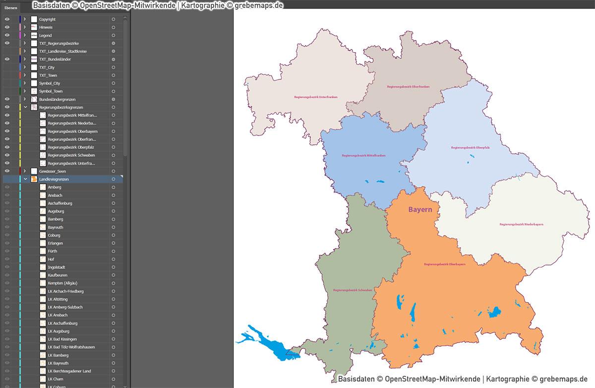 Bayern Vektorkarte Regierungsbezirke Landkreise, Karte Bayern Regierungsbezirke, Karte Bayern Landkreise, Landkarte Bayern Landkreise, Vektorkarte Bayern Landkreise, AI, download, editierbar, ebenen-separiert