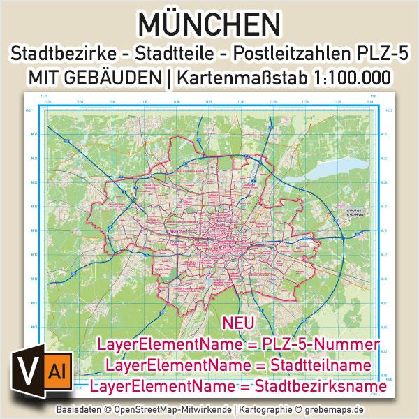 München Stadtplan Mit Stadtbezirken Stadtteilen Postleitzahlen PLZ-5 Gebäuden Vektorkarte 1:100.000 (2020)