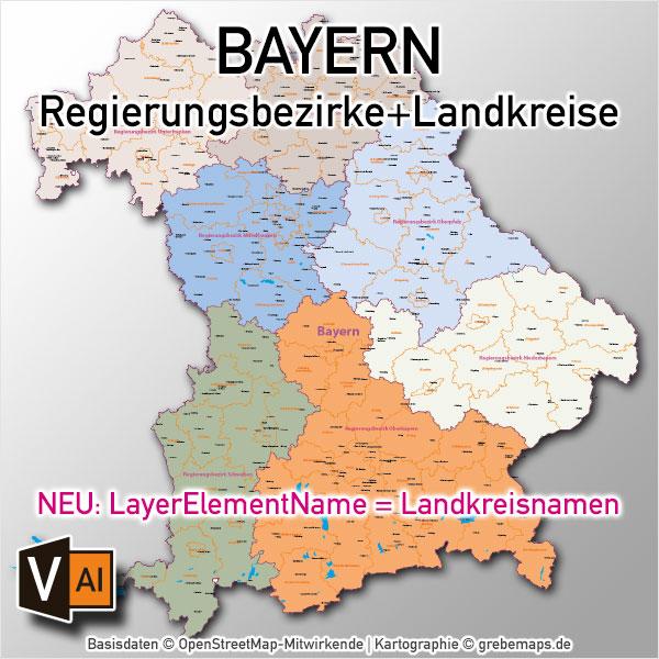 Bayern Vektorkarte Regierungsbezirke Landkreise