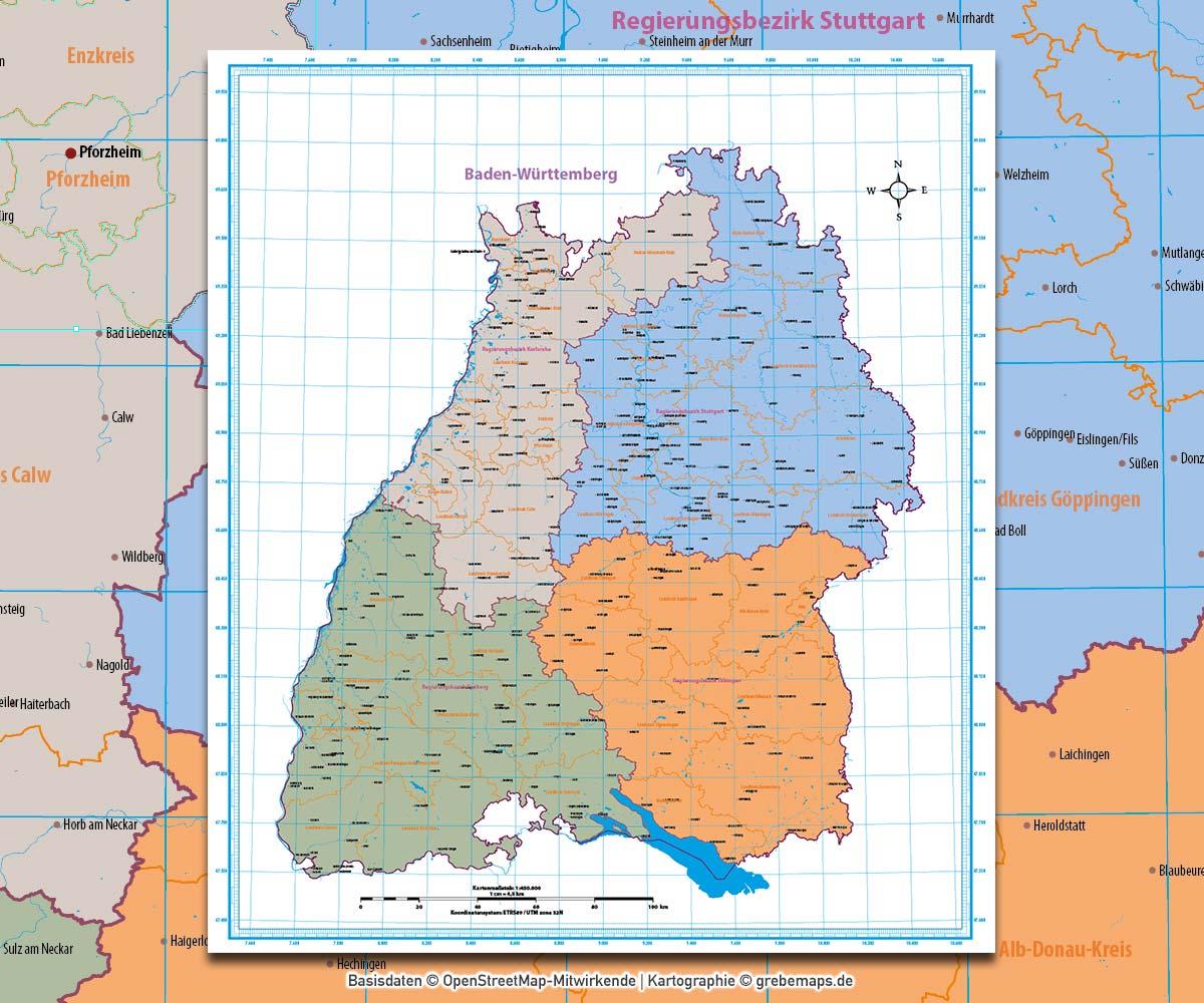 Baden-Württemberg Vektorkarte Regierungsbezirke Landkreise, Karte Baden-Württemberg Landkreise, Karte Baden-Württemberg Regierungsbezirke, Vektorkarte Baden-Württemberg Landkreise, Landkarte Baden-Württemberg Landkreise, AI, download, editierbar