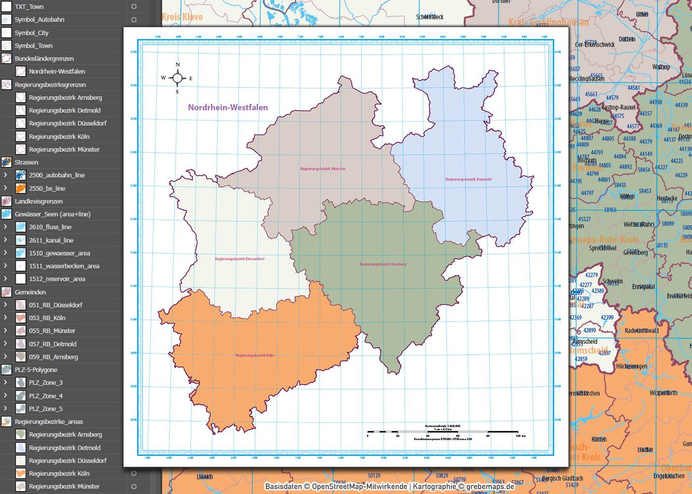 Nordrhein-Westfalen Vektorkarte NRW Regierungsbezirke Landkreise Gemeinden Postleitzahlen PLZ-5, Karte NRW PLZ, Karte NRW Gemeinden, Karte NRW Landkreise, Karte NRW administrativ, Vektorkarte NRW PLZ, AI, download, editierbar
