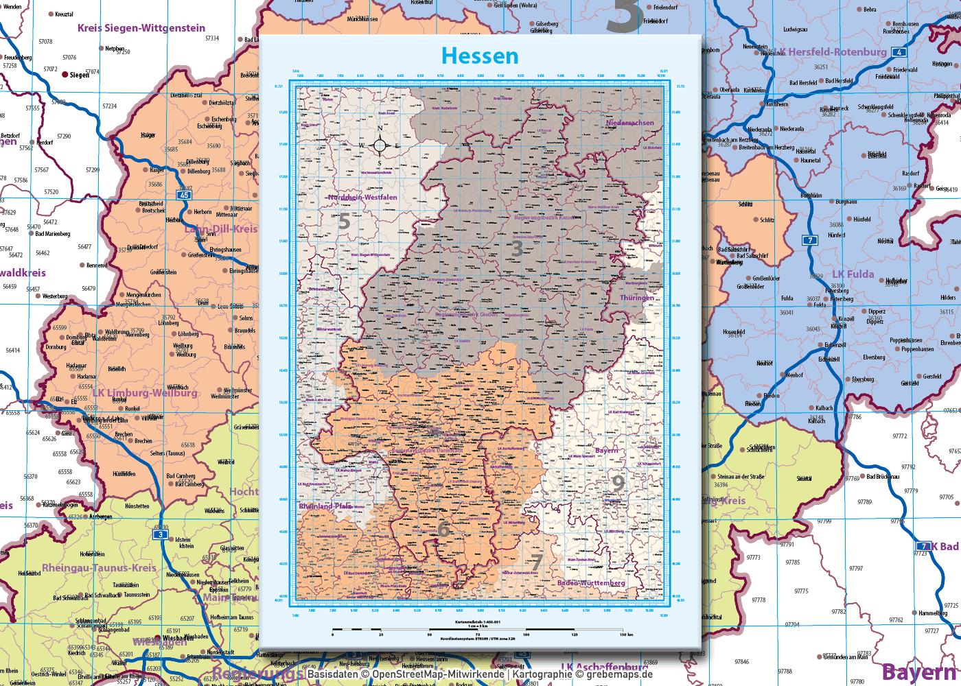 Hessen Vektorkarte Landkreise Gemeinden Postleitzahlen PLZ-5, Karte Hessen Gemeinden, Karte Hessen Landkreise, PLZ-Karte Hessen, Karte PLZ Hessen, Karte PLZ 5-stellig Hessen, Vektorgrafik, AI, download, editierbar, ebenen-separiert, Vektorkarte Hessen Gemeinden, Vektorkarte Hessen Postleitzahlen, Vektorkarte Hessen Landkreise, Vektorkarte Hessen PLZ-5