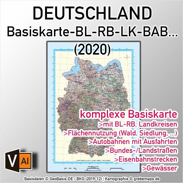 Deutschland Basiskarte Vektorkarte Bundesländer Regierungsbezirke Landkreise Autobahnen Gewässer Orte U.a. (2020)