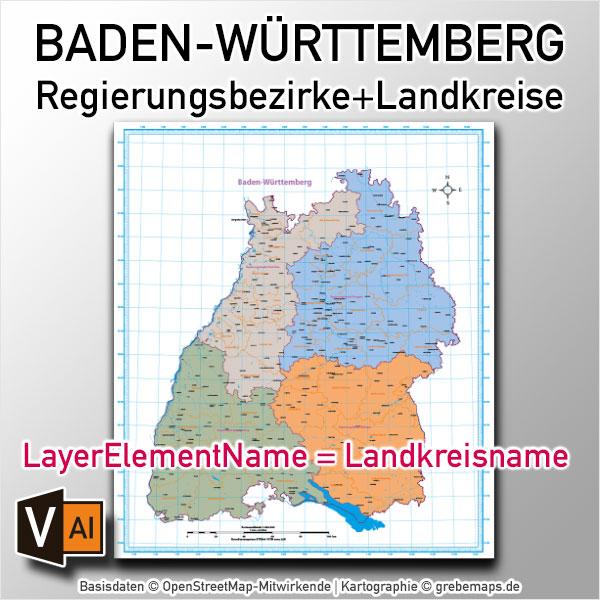 Baden-Württemberg Vektorkarte Regierungsbezirke Landkreise (2020)