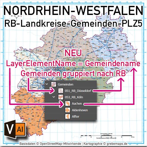 Nordrhein-Westfalen Vektorkarte NRW Regierungsbezirke Landkreise Gemeinden Postleitzahlen PLZ-5 (2020)