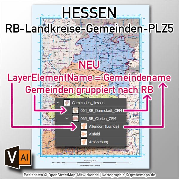 Hessen Vektorkarte Landkreise Gemeinden Postleitzahlen PLZ-5 Autobahnen (2020)