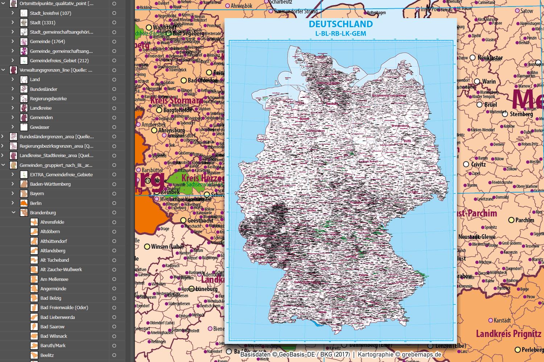 Deutschland Vektorkarte Gemeinden Landkreise Regierungsbezirke Bundesländer Ortsmittelpunkte Landkarte, Gemeindekarte Deutschland, Karte Gemeinden Deutschland AI, Landkarte Deutschland AI, Landkarte Deutschland Illustrator AI, Vektorkarte Deutschland Gemeinden Landkreise AI, editierbar, download, AI-Datei, Karte für Illustrator