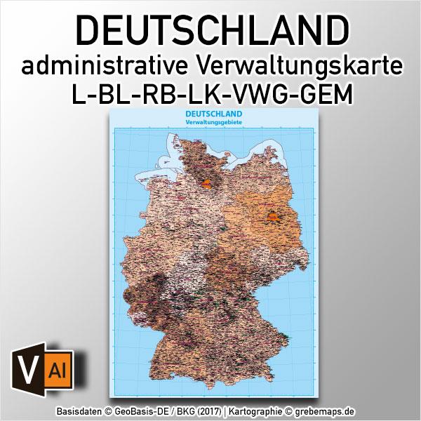 Deutschland Administrative Verwaltungskarte Bundesländer Regierungsbezirke Landkreise Gemeinden Vektorkarte Landkarte