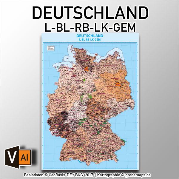 Deutschland Vektorkarte Gemeinden Landkreise Regierungsbezirke Bundesländer Ortsmittelpunkte Landkarte