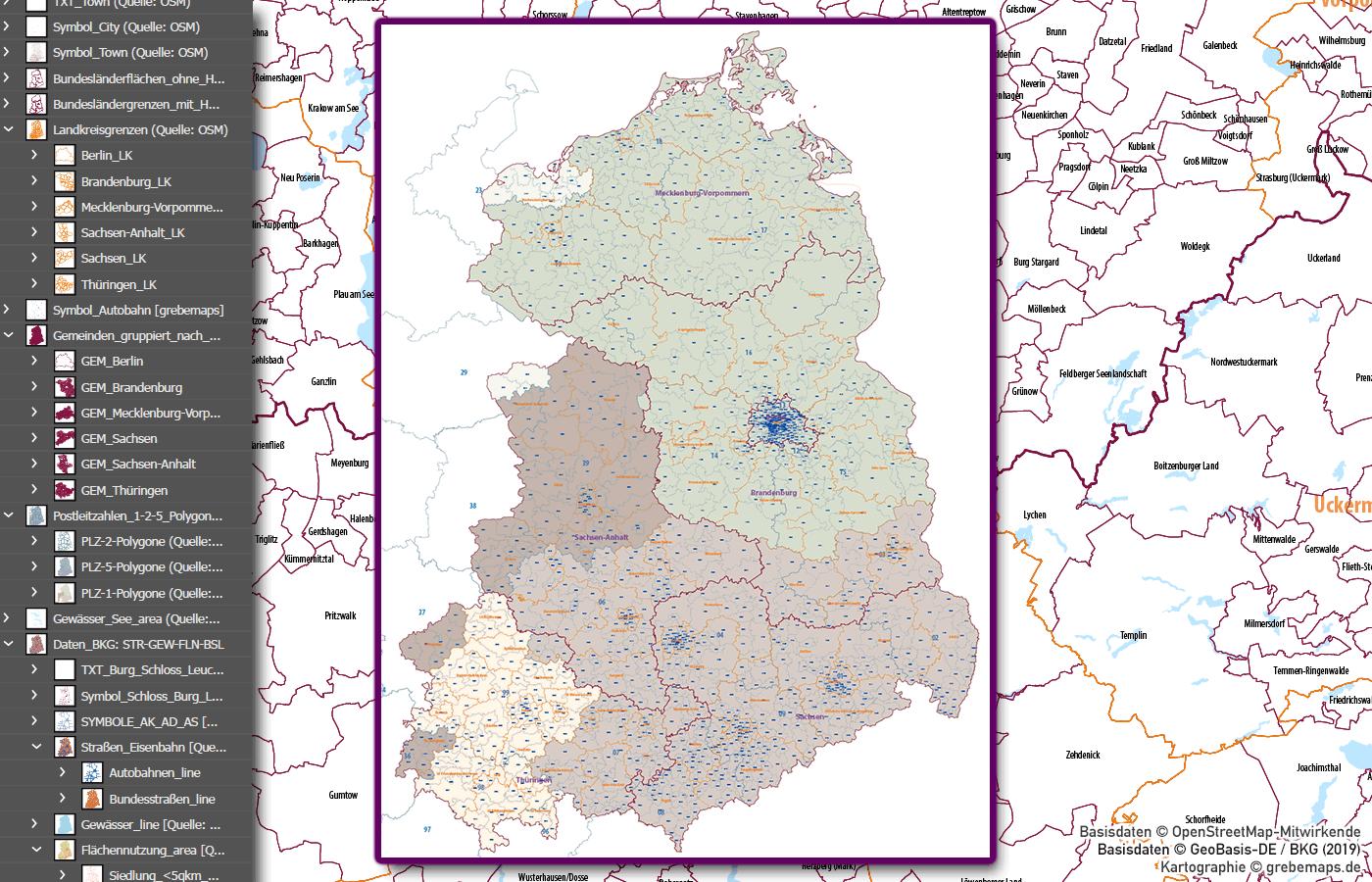 Ostdeutschland Vektorkarte Landkreise Gemeinden Postleitzahlen PLZ-5, Vektorkarte Mecklenburg-Vorpommern, Meck-pom, Vektorkarte Sachsen, Vektorkarte Thüringen, Vektorkarte Brandenburg, AI, download, editierbar