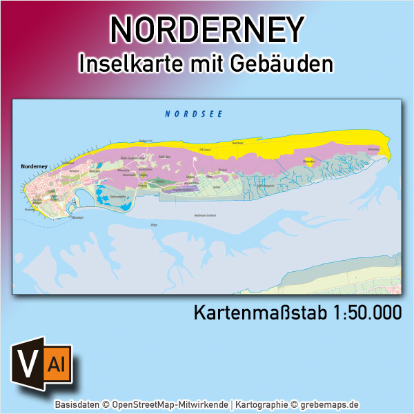Norderney Inselkarte Mit Gebäuden Vektorkarte