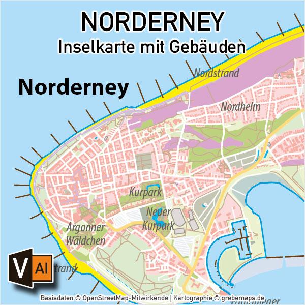 Norderney Inselkarte mit Gebäuden Vektorkarte, Karte Norderney, Inselkarte Norderney mit Gebäuden, Vektorkarte Norderney, Übersichtskarte Norderney, AI, editierbar