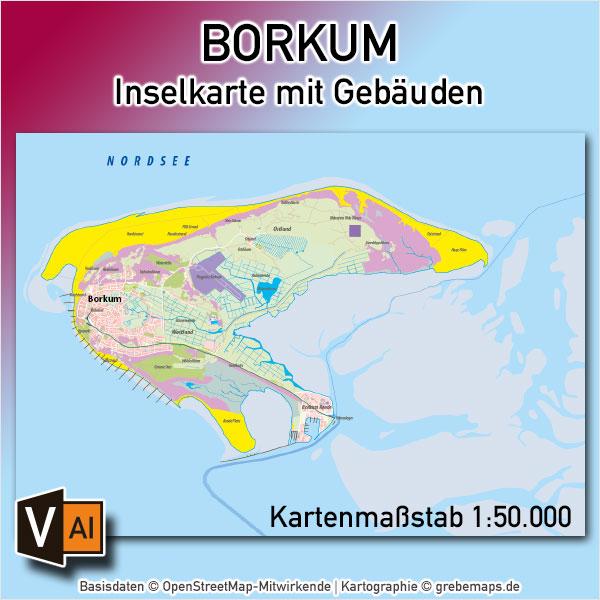 Borkum Inselkarte Mit Gebäuden Vektorkarte