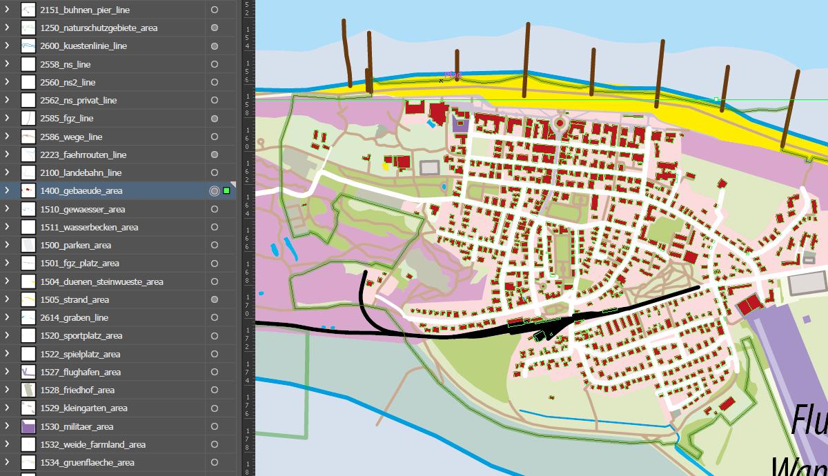 Wangerooge Inselkarte mit Gebäuden Vektorkarte, Karte Wangerooge, Inselkarte Wangerooge mit Gebäuden, Vektorkarte Wangerooge, Übersichtskarte Wangerooge, AI, editierbar, download, Karte Wangerooge editierbar