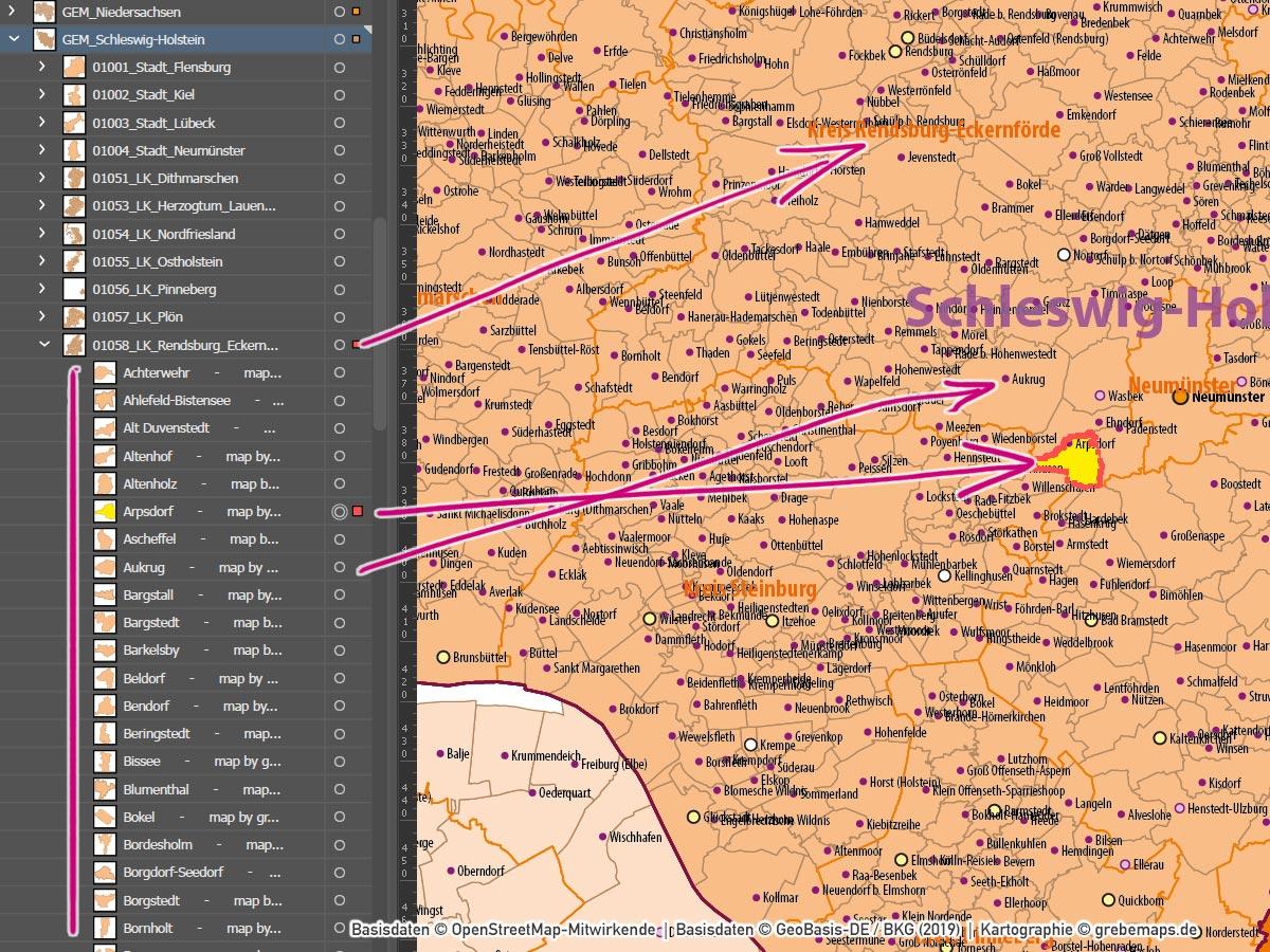 Schleswig-Holstein Niedersachsen Hamburg Bremen Vektorkarte Gemeinden Landkreise Postleitzahlen PLZ-1-2-5, Karte Postleitzahlen Schleswig-Holstein Niedersachsen Hamburg Bremen, PLZ-Karte Niedersachsen Schleswig-Holstein, Gemeindekarte, Karte Gemeinden, Karte Landkreise, AI, download, editierbar