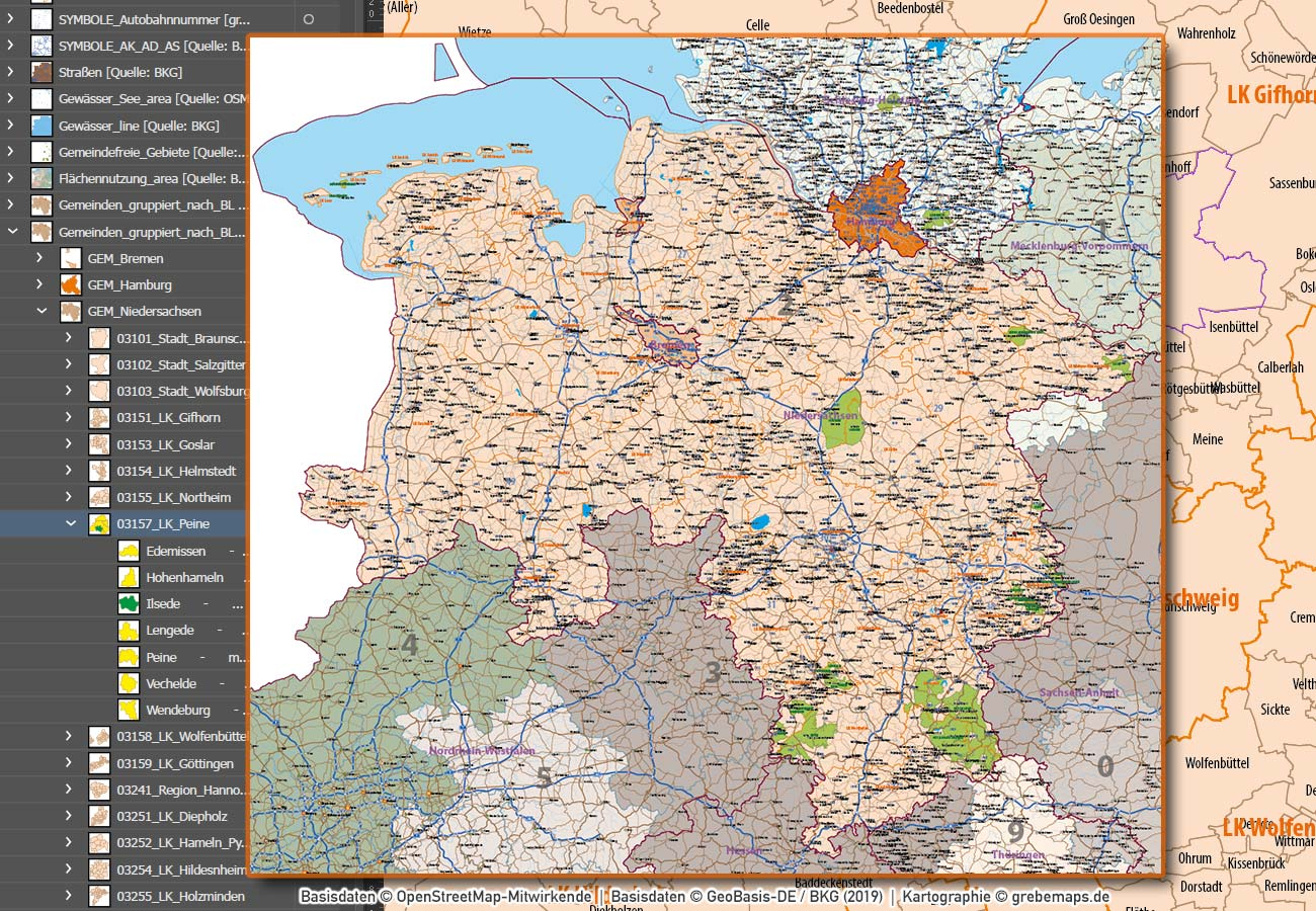 Niedersachsen Hamburg Vektorkarte Gemeinden Landkreise Postleitzahlen PLZ-1-2-5 Autobahnen, Karte PLZ Niedersachsen, Vektorkarte Niedersachsen, Gemeindekarte Niedersachsen, Postleitzahlenkarte Niedersachsen, Karte PLZ Niedersachsen, AI, download, editierbar